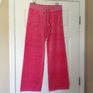 Juicy Couture Pink Velour Pants w/3 Hearts size M